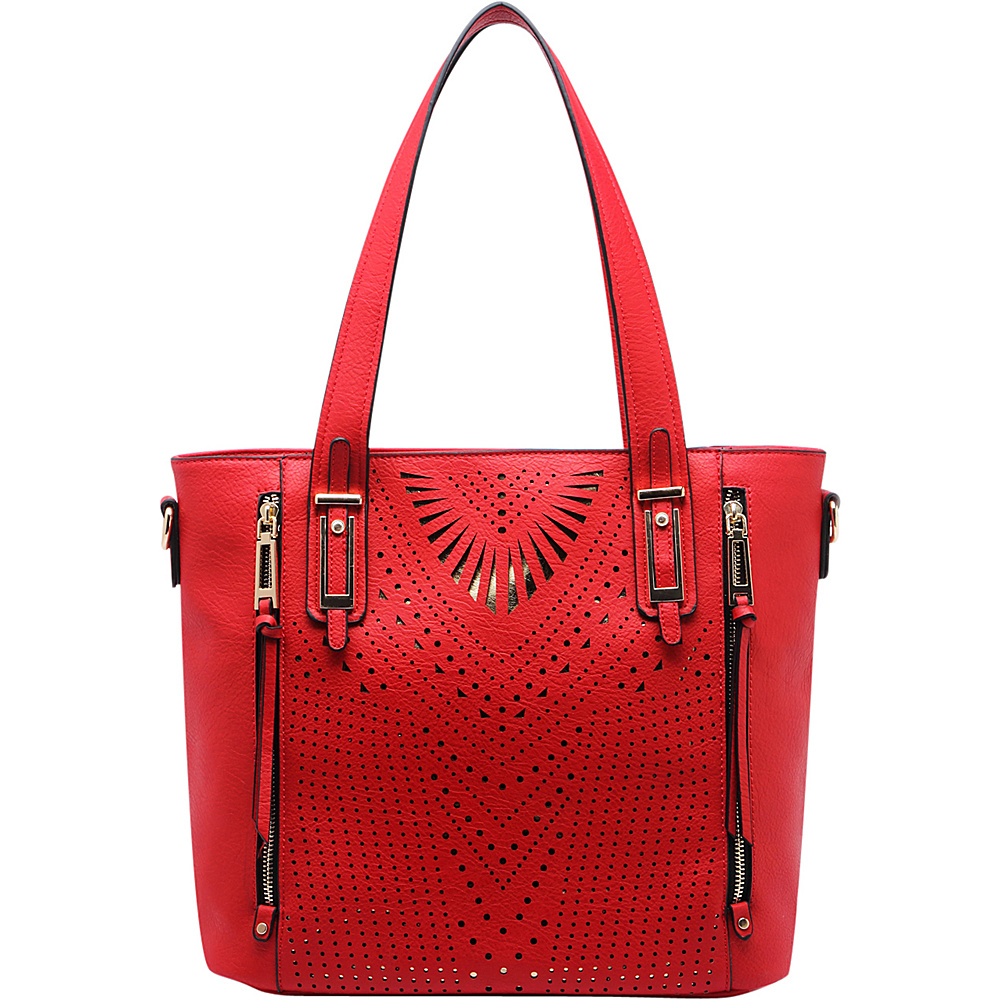 MKF Collection by Mia K. Farrow Faye Drive Laser-Cut Shoulder Bag Red - MKF Collection by Mia K. Farrow Manmade Handbags - Handbags, Manmade Handbags