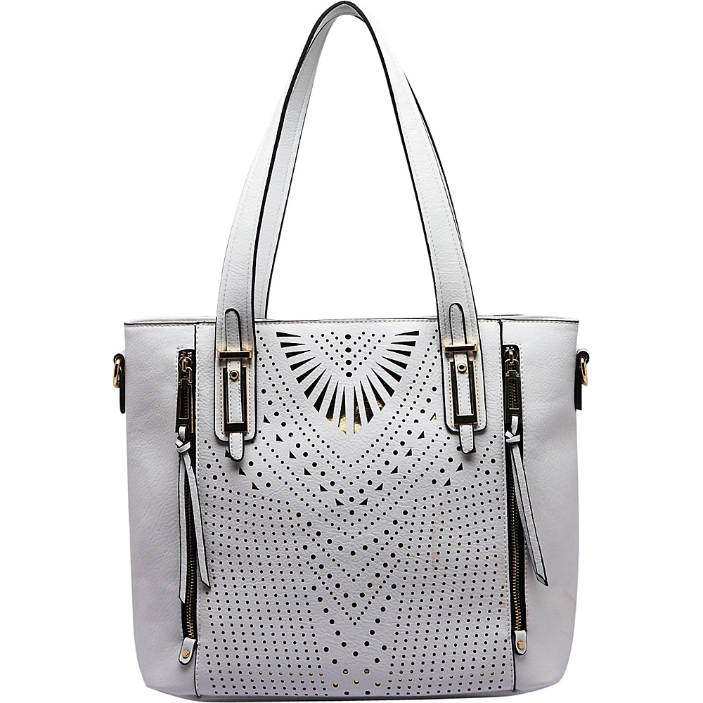 MKF Collection by Mia K. Farrow Faye Drive Laser-Cut Shoulder Bag White - MKF Collection by Mia K. Farrow Manmade Handbags - Handbags, Manmade Handbags
