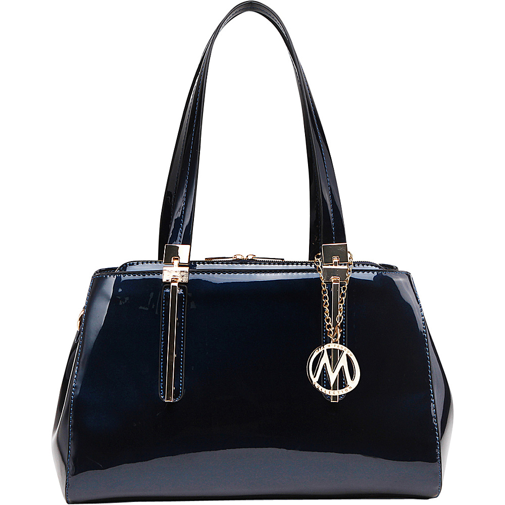 MKF Collection Abree Patent Satchel Blue - MKF Collection Manmade Handbags - Handbags, Manmade Handbags