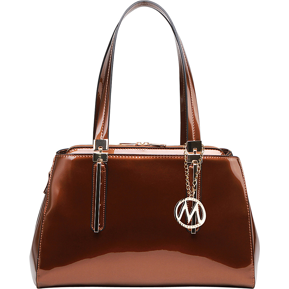 MKF Collection by Mia K. Farrow Abree Patent Satchel Coffee - MKF Collection by Mia K. Farrow Manmade Handbags - Handbags, Manmade Handbags