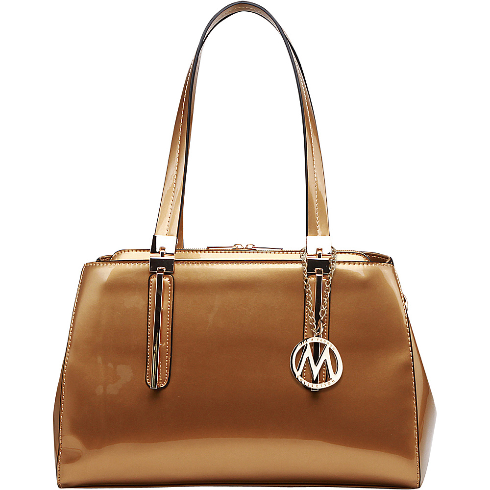 MKF Collection by Mia K. Farrow Abree Patent Satchel Gold - MKF Collection by Mia K. Farrow Manmade Handbags - Handbags, Manmade Handbags