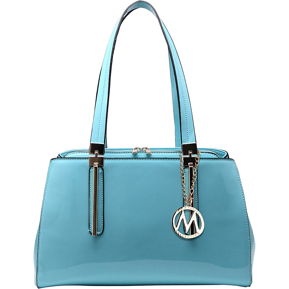 MKF Collection by Mia K. Farrow Abree Patent Satchel Light Blue - MKF Collection by Mia K. Farrow Manmade Handbags - Handbags, Manmade Handbags