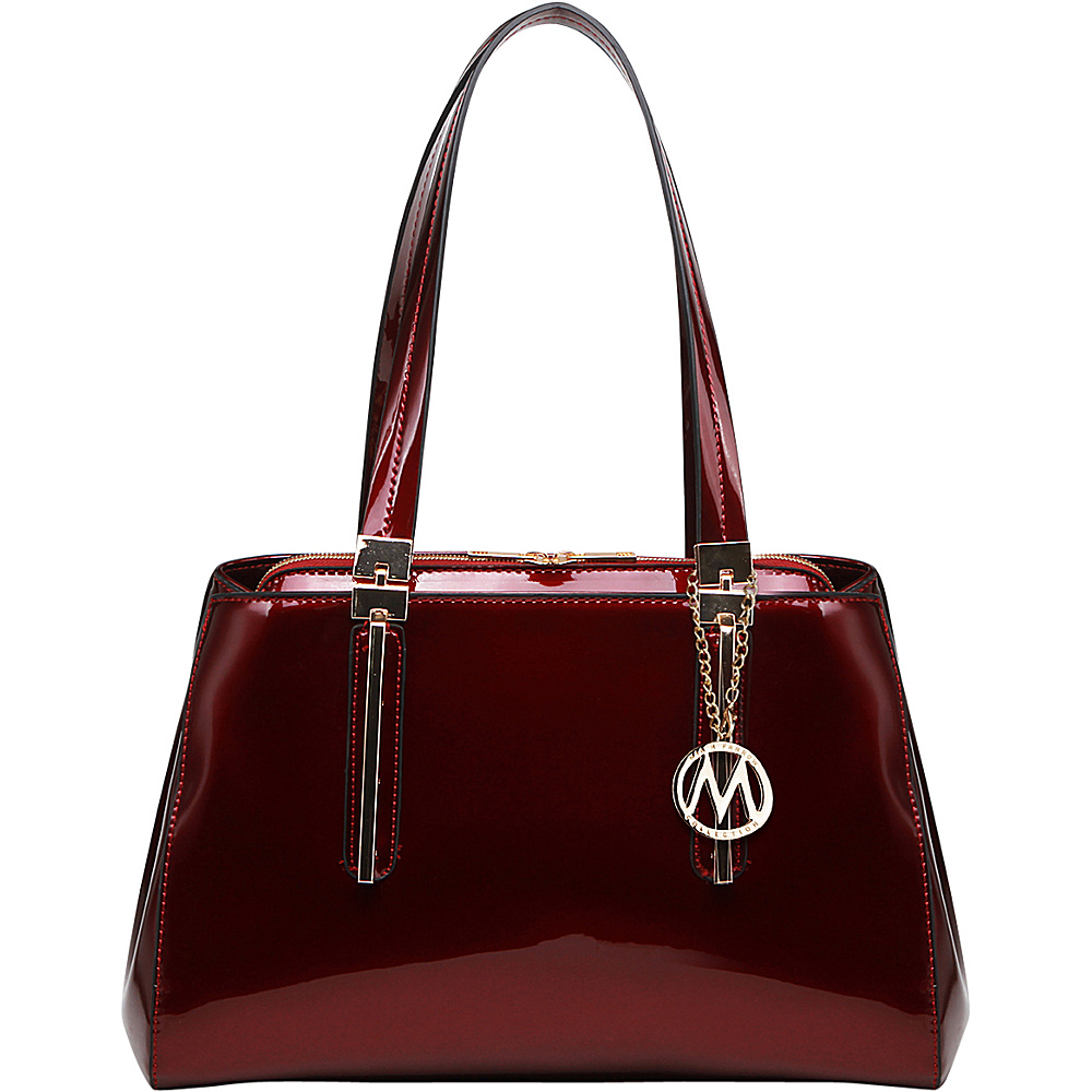 MKF Collection by Mia K. Farrow Abree Patent Satchel Red - MKF Collection by Mia K. Farrow Manmade Handbags - Handbags, Manmade Handbags