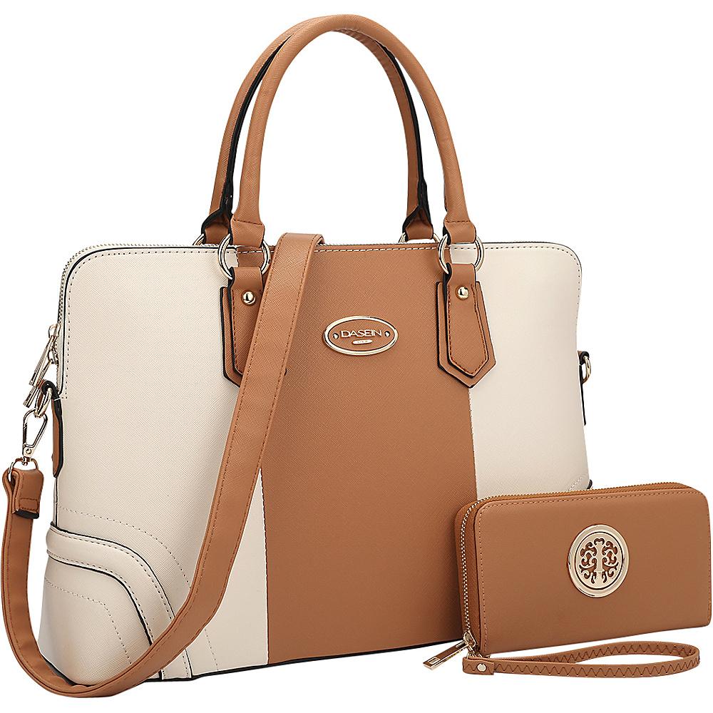 Dasein Slim Briefcase with Matching Wallet Brown/Beige - Dasein Gym Bags - Sports, Gym Bags