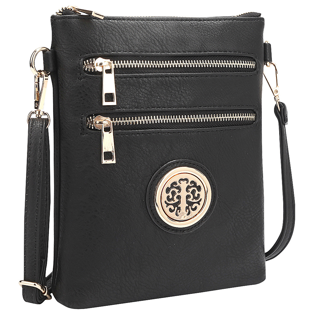 Dasein Gold-Tone Crossbody Black - Dasein Leather Handbags - Handbags, Leather Handbags