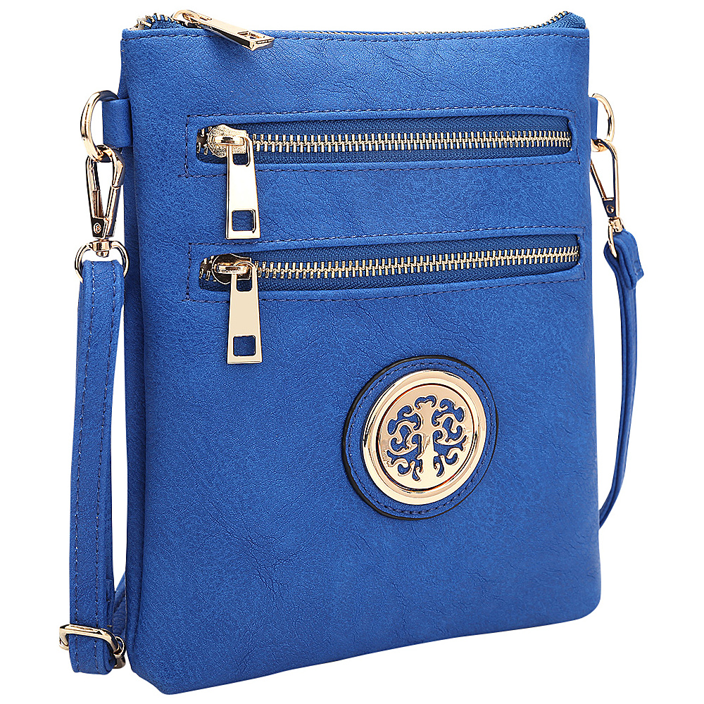 Dasein Gold-Tone Crossbody Royal Blue - Dasein Leather Handbags - Handbags, Leather Handbags