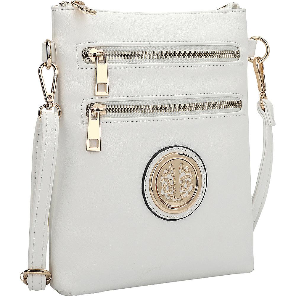 Dasein Gold-Tone Crossbody White - Dasein Leather Handbags - Handbags, Leather Handbags