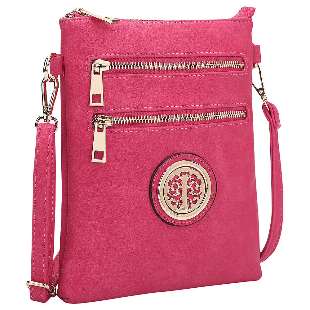 Dasein Gold-Tone Crossbody Fuchsia - Dasein Leather Handbags - Handbags, Leather Handbags