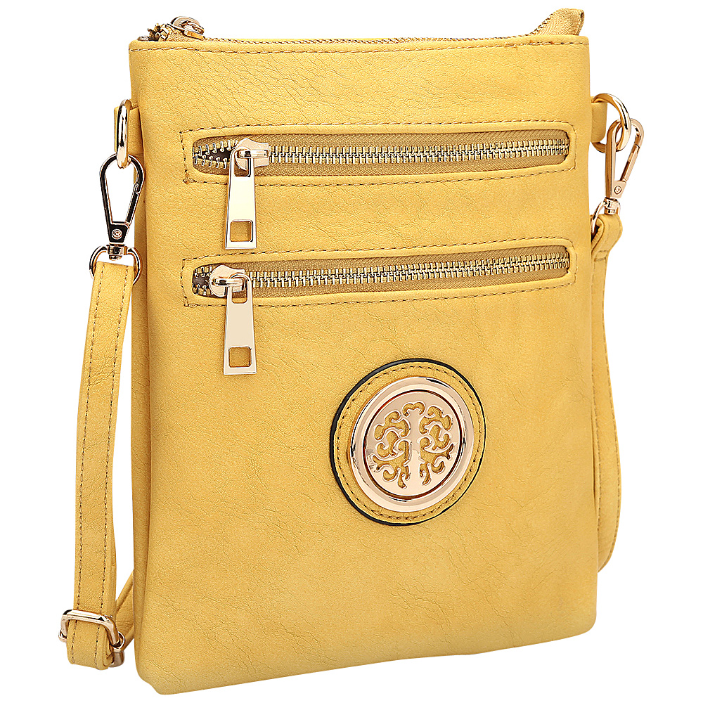 Dasein Gold-Tone Crossbody Yellow - Dasein Leather Handbags - Handbags, Leather Handbags
