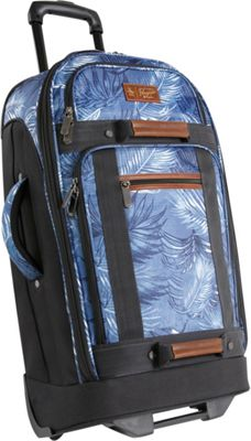 Original Penguin Luggage Casual 30 inch Upright Rolling Duffel Bag Blue Palm Tree - Original Penguin Luggage Travel Duffels