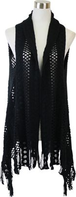 Lava Accessories Thick Crochet Scarfvest Black - Lava Accessories Scarves