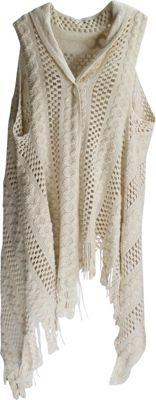 Lava Accessories Thick Crochet Scarfvest Beige - Lava Accessories Scarves