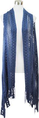 Lava Accessories Thick Crochet Scarfvest Blue - Lava Accessories Scarves