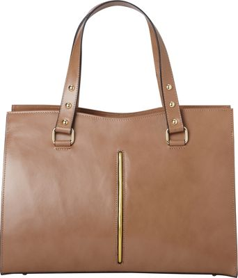 Sharo Leather Bags Italian Made Leather Handbag Tote with Brass Studs Light Brown - Sharo Leather Bags Leather Handbags
