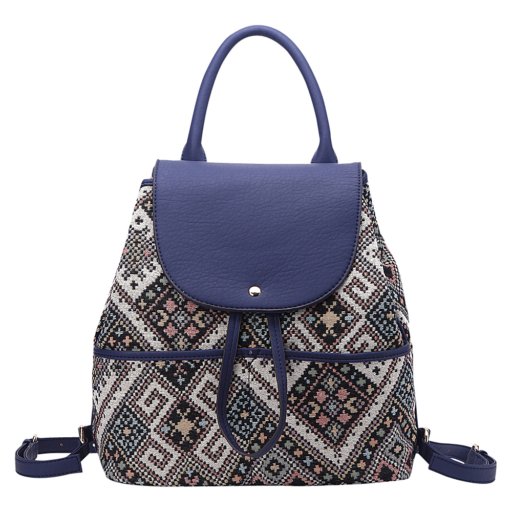 MKF Collection by Mia K. Farrow Bloomsbury Super-Chic Small Barrel Bag Blue - MKF Collection by Mia K. Farrow Fabric Handbags - Handbags, Fabric Handbags