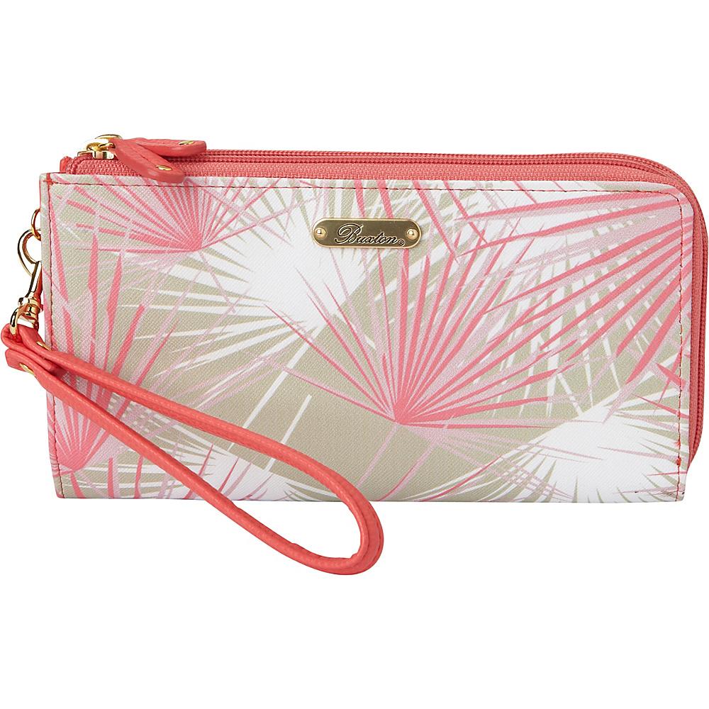 Buxton Tropical Palms Double L-Zip Wallet Sugar Coral - Buxton Manmade Handbags - Handbags, Manmade Handbags