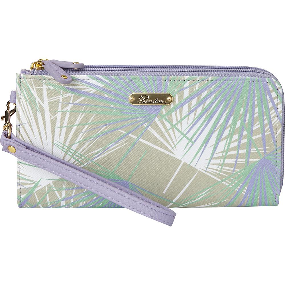 Buxton Tropical Palms Double L-Zip Wallet Wisteria - Buxton Manmade Handbags - Handbags, Manmade Handbags