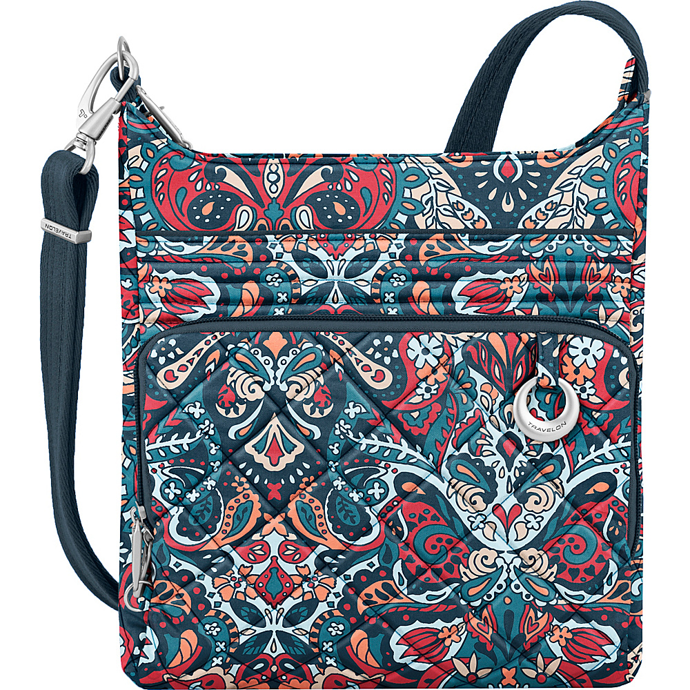 Travelon Anti-Theft Boho North/South Crossbody Summer Paisley/Deep Turquoise Interior - Travelon Fabric Handbags - Handbags, Fabric Handbags