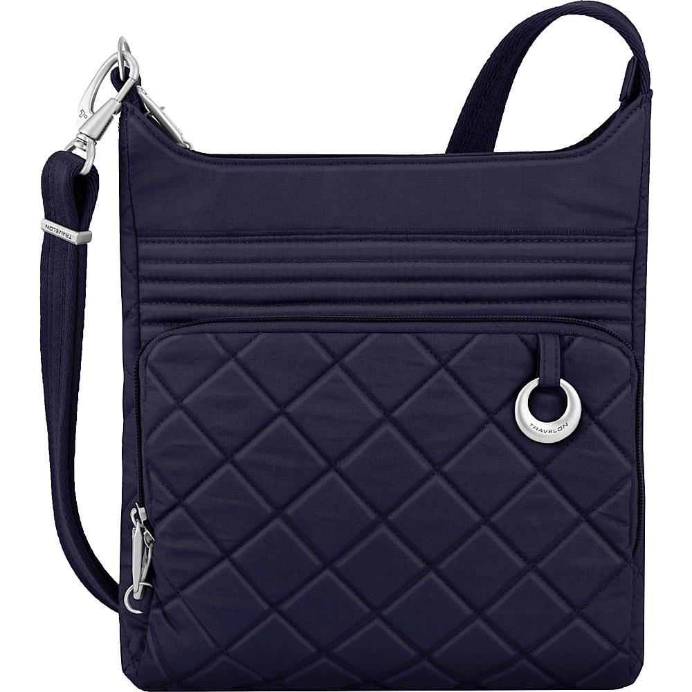 Travelon Anti-Theft Boho North/South Crossbody Navy/Leaf Interior - Travelon Leather Handbags - Handbags, Leather Handbags