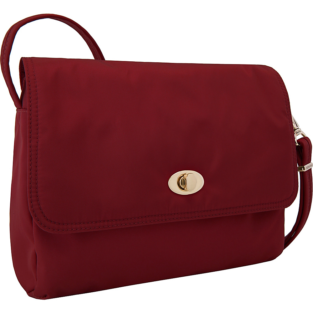 Travelon Anti-Theft Tailored E/W Crossbody Garnet/Dove Gray Interior - Travelon Leather Handbags - Handbags, Leather Handbags