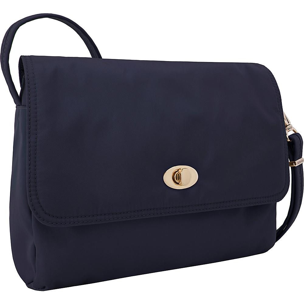 Travelon Anti-Theft Tailored E/W Crossbody Sapphire/Dove Gray Interior - Travelon Leather Handbags - Handbags, Leather Handbags