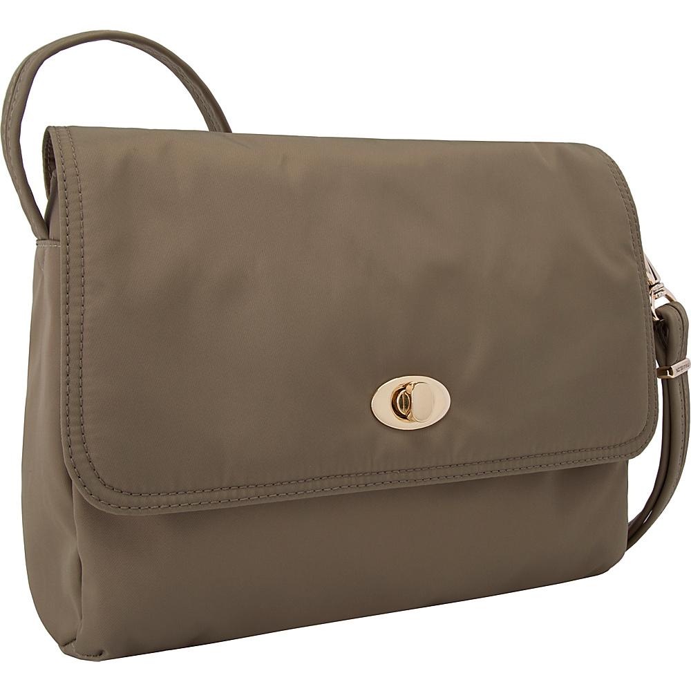 Travelon Anti-Theft Tailored E/W Crossbody Sable/Royal Purple Interior - Travelon Leather Handbags - Handbags, Leather Handbags