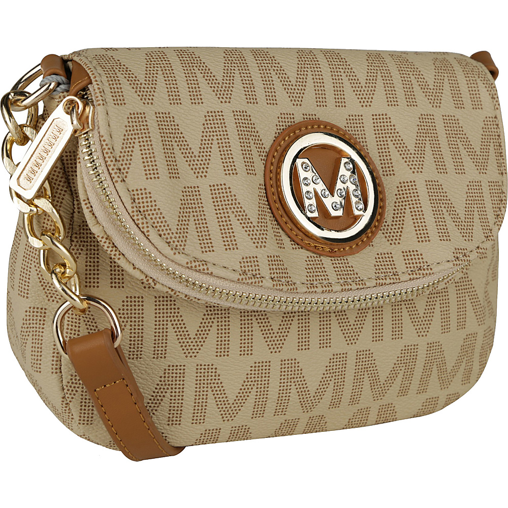 MKF Collection by Mia K. Farrow York M Signature Crossbody Beige - MKF Collection by Mia K. Farrow Manmade Handbags - Handbags, Manmade Handbags
