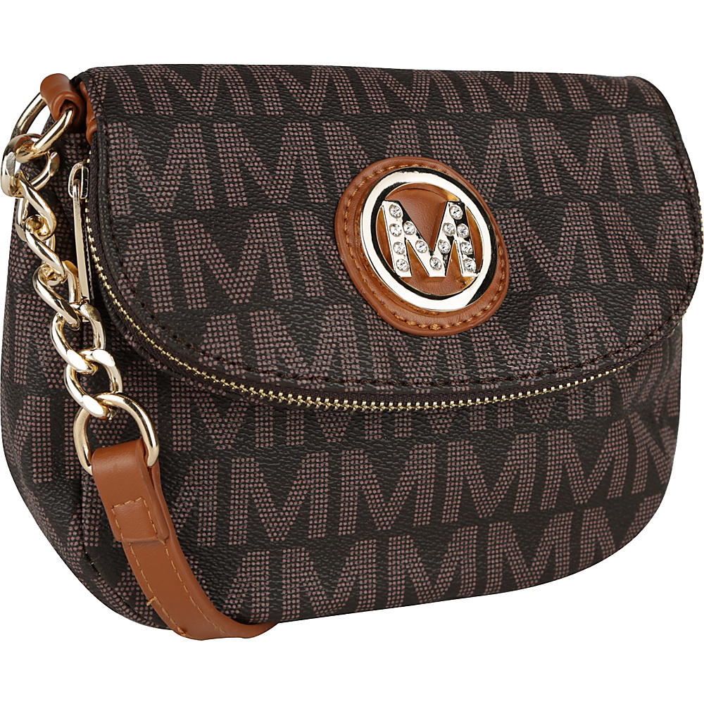 MKF Collection by Mia K. Farrow York M Signature Crossbody Brown - MKF Collection by Mia K. Farrow Manmade Handbags - Handbags, Manmade Handbags