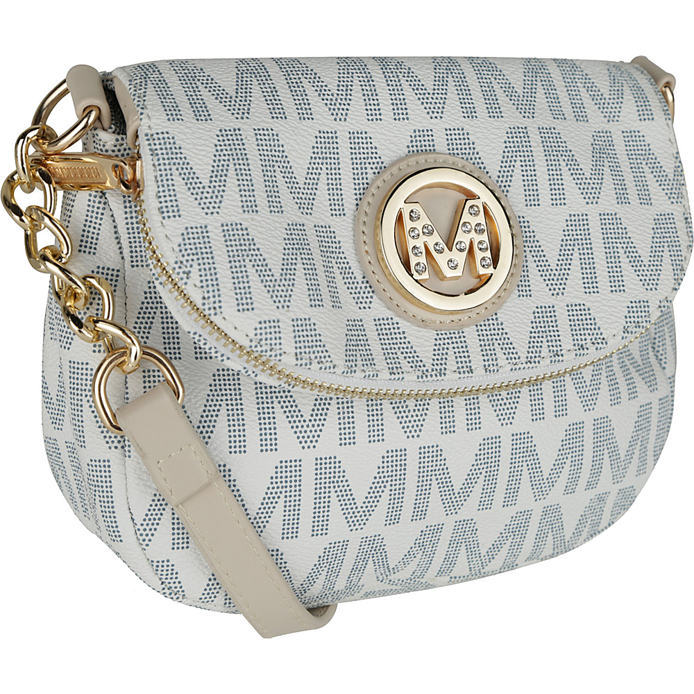 MKF Collection by Mia K. Farrow York M Signature Crossbody White - MKF Collection by Mia K. Farrow Manmade Handbags - Handbags, Manmade Handbags