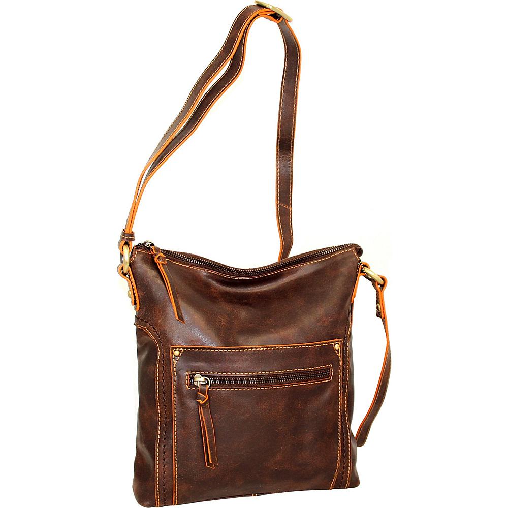 Nino Bossi Ebony Crossbody Chocolate - Nino Bossi Leather Handbags - Handbags, Leather Handbags
