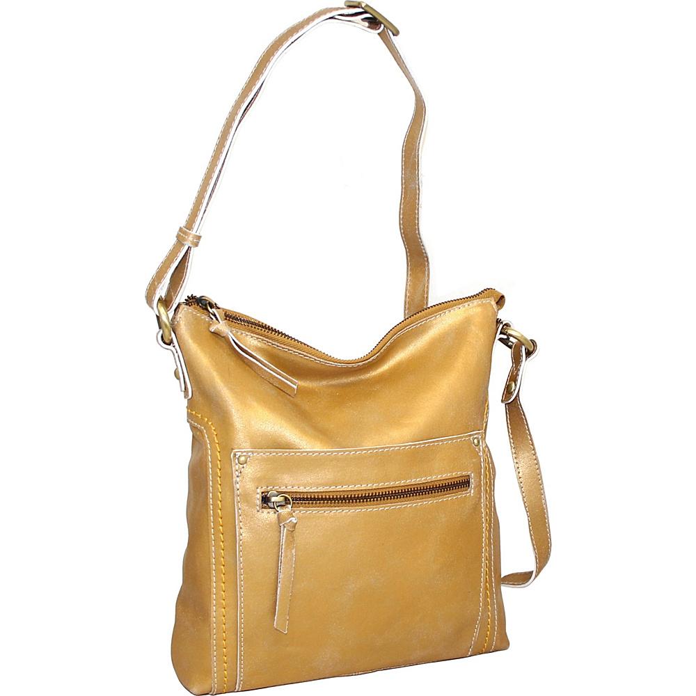 Nino Bossi Ebony Crossbody Gold - Nino Bossi Leather Handbags - Handbags, Leather Handbags