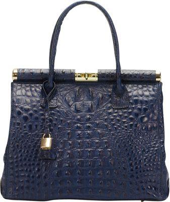 Lisa Minardi Croco Top Handle Shoulder Bag Blue - Lisa Minardi Leather Handbags