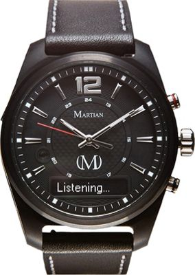 Martian Watches Martian AE 01 Smartwatch Black Dial / Black Case / Black Leather Strap - Martian Watches Wearable Technology