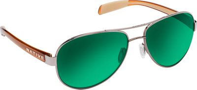 Native Eyewear Patroller Sunglasses Chrome/Crystal Brown with Polarized Green Reflex - Native Eyewear Eyewear