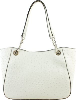 Emilie M Layla Chain Double Shoulder White Ostrich - Emilie M Manmade Handbags