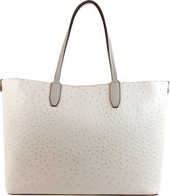 Emilie M Loren Medium Satchel - Bright White Ostrich - Emilie M Manmade Handbags