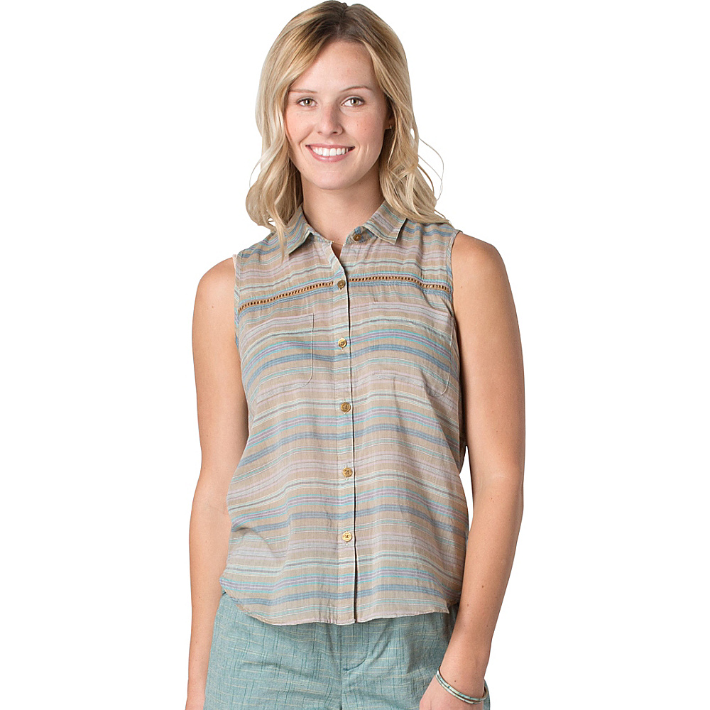 Toad & Co Airbrush SL Deco Shirt M - Honey Brown Stripe - Toad & Co Womens Apparel - Apparel & Footwear, Women's Apparel