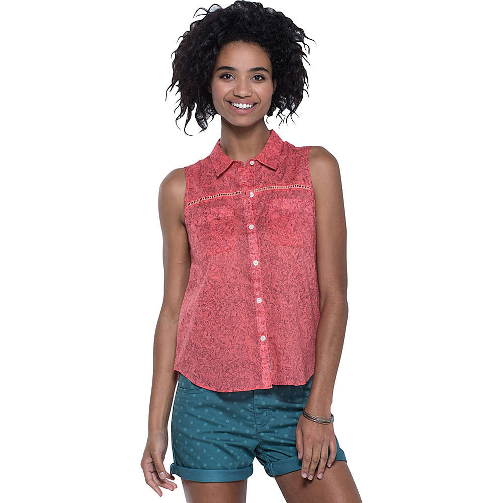 Toad & Co Airbrush SL Deco Shirt M - Spiced Coral Galapagos Print - Toad & Co Womens Apparel - Apparel & Footwear, Women's Apparel