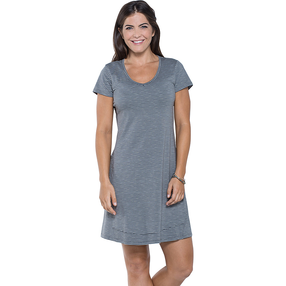 Toad & Co Marley Short Sleeve Dress XS - Smoke Lean Stripe - Toad & Co Womens Apparel - Apparel & Footwear, Women's Apparel