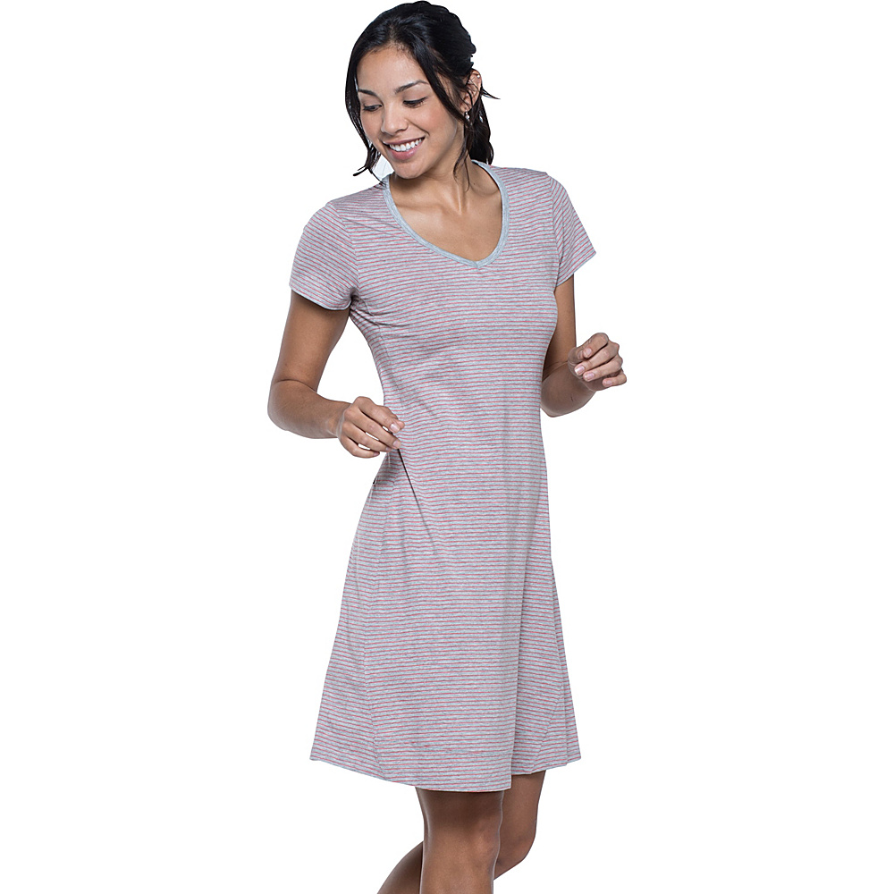 Toad & Co Marley Short Sleeve Dress S - Heather Grey Stripe - Toad & Co Womens Apparel - Apparel & Footwear, Women's Apparel
