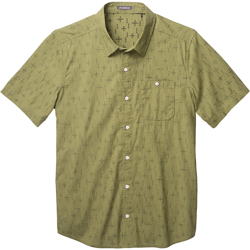 Toad & Co Fletch Print Short Sleeve Shirt S - Juniper Print - Toad & Co Mens Apparel - Apparel & Footwear, Men's Apparel
