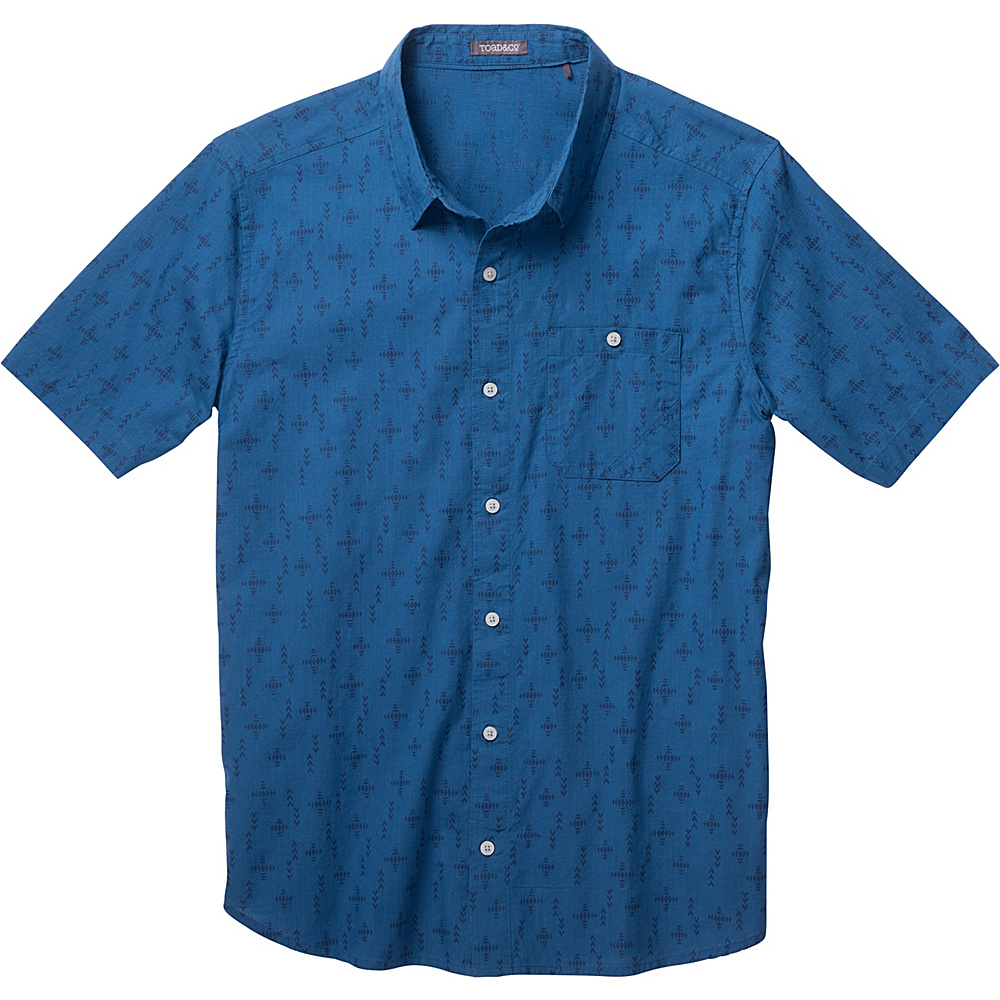 Toad & Co Fletch Print Short Sleeve Shirt M - Blue Abyss Print - Toad & Co Mens Apparel - Apparel & Footwear, Men's Apparel