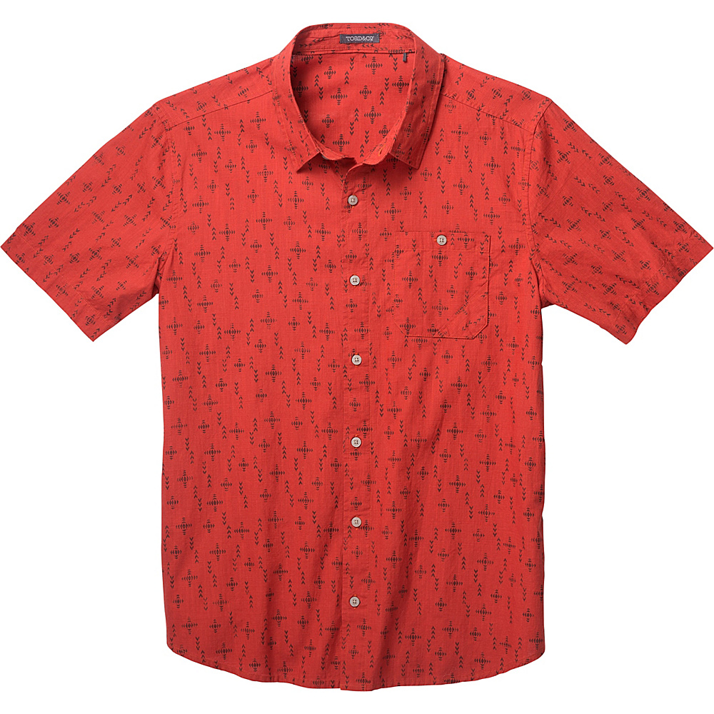 Toad & Co Fletch Print Short Sleeve Shirt XXL - Red Clay Print - Toad & Co Mens Apparel - Apparel & Footwear, Men's Apparel