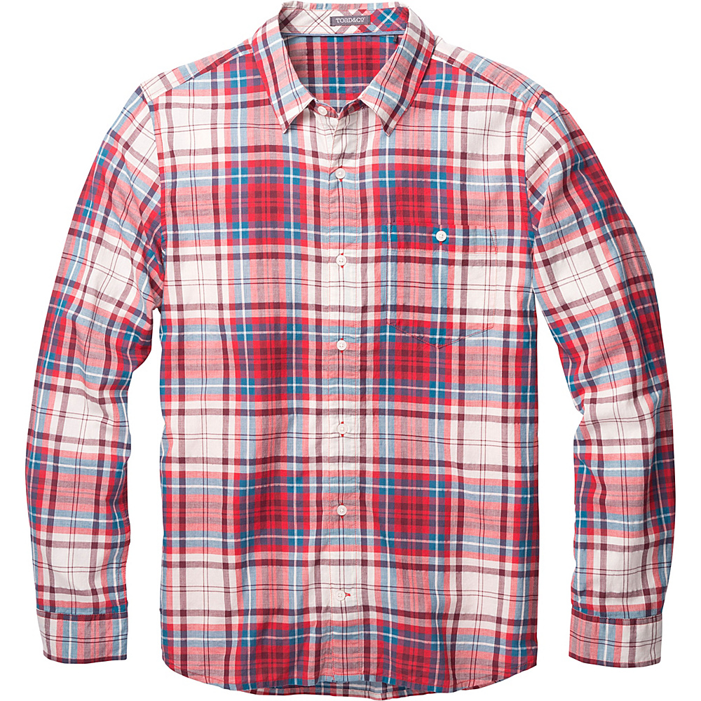 Toad & Co Cuba Libre Long Sleeve Shirt S - Frigate Red - Toad & Co Mens Apparel - Apparel & Footwear, Men's Apparel