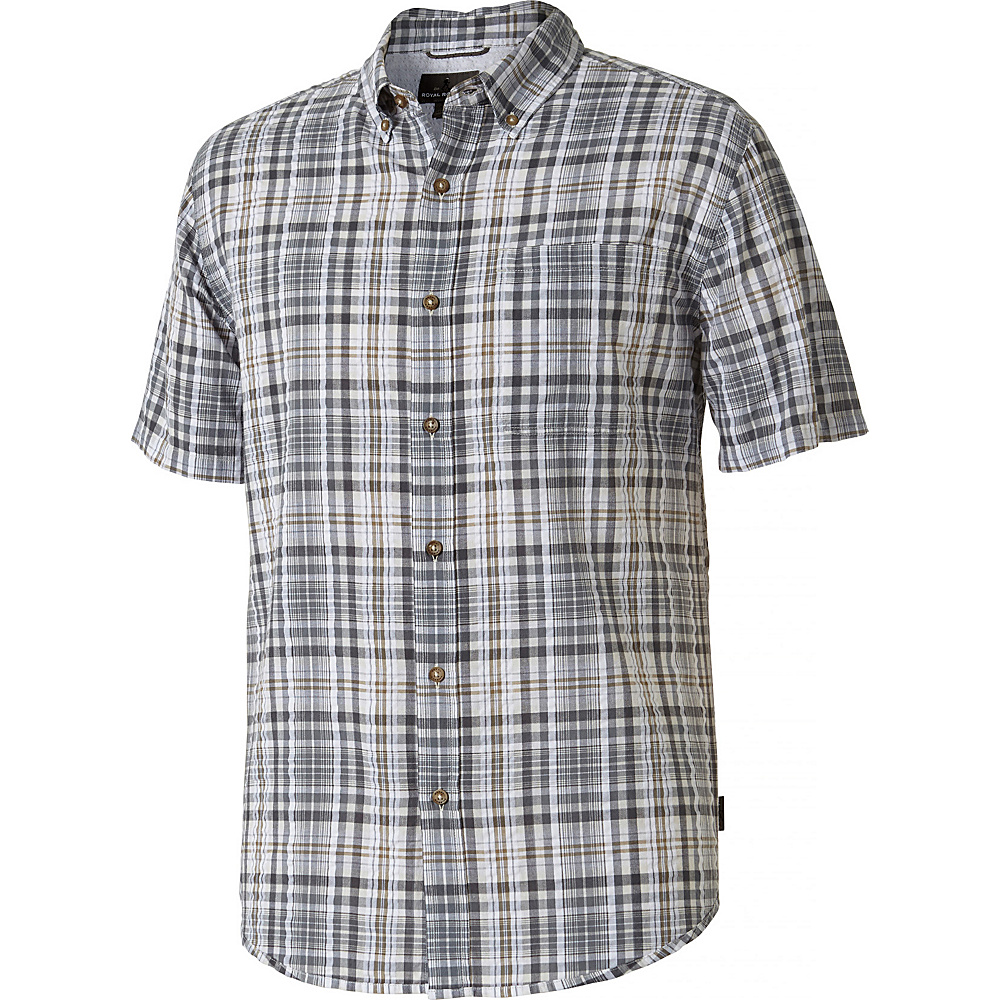 Royal Robbins MiMens d-Coast Seersucker Plaid Short Sleeve Shirt S - Pewter - Royal Robbins Mens Apparel - Apparel & Footwear, Men's Apparel