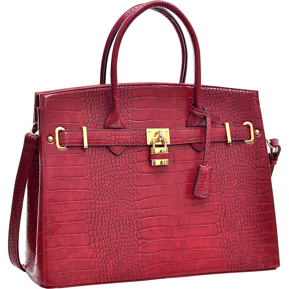 Dasein Faux Leather Padlock Satchel Burgundy - Dasein Gym Bags - Sports, Gym Bags