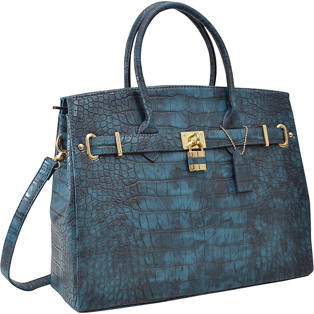 Dasein Faux Leather Padlock Satchel Turquoise - Dasein Gym Bags - Sports, Gym Bags