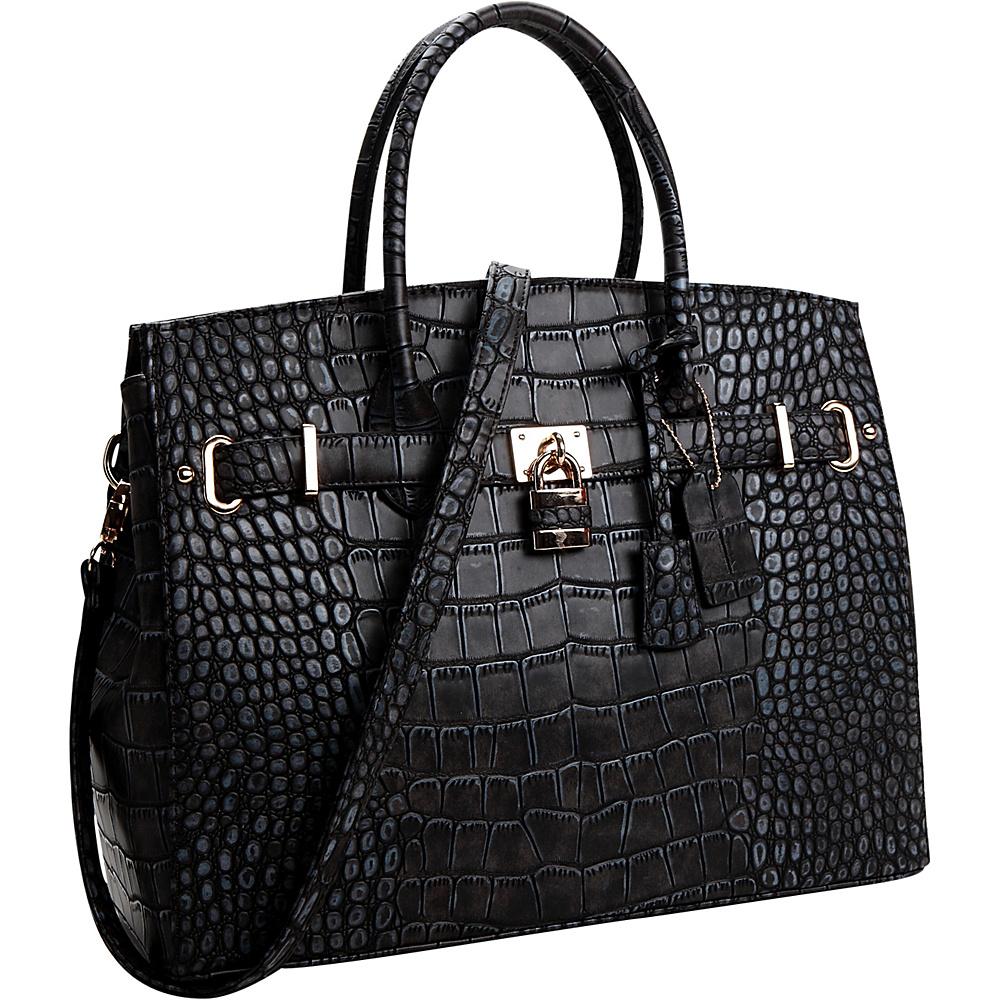 Dasein Faux Leather Padlock Satchel Black - Dasein Manmade Handbags - Handbags, Manmade Handbags