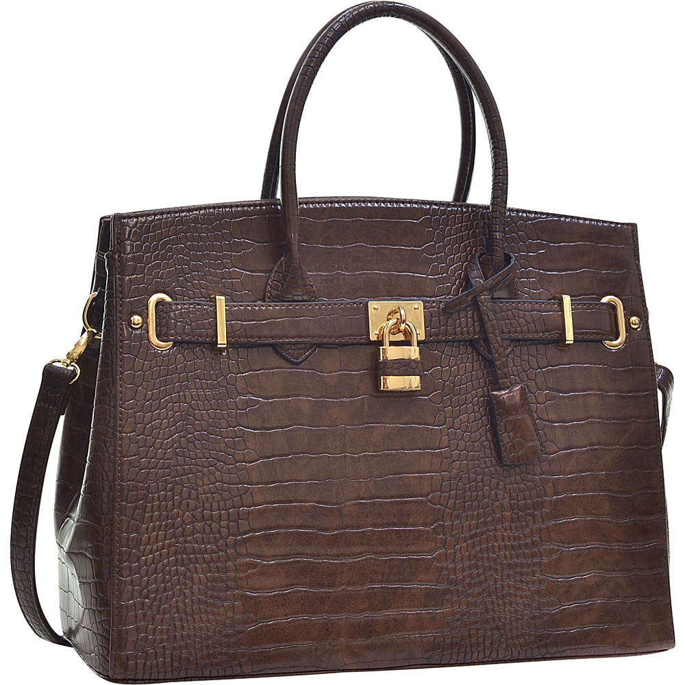 Dasein Faux Leather Padlock Satchel Coffee - Dasein Manmade Handbags - Handbags, Manmade Handbags