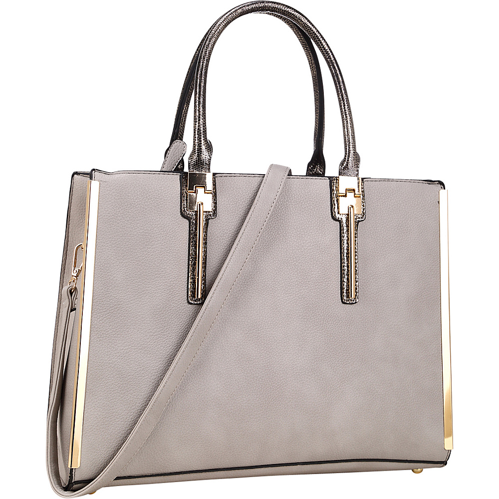 Dasein Faux Leather Satchel with Gold Plated Trim and Snake Skin Rolled Handle Grey - Dasein Manmade Handbags - Handbags, Manmade Handbags